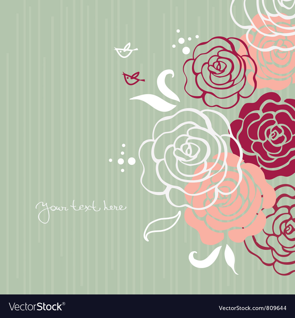 Floral background with cartoon birds vector | Price: 1 Credit (USD $1)