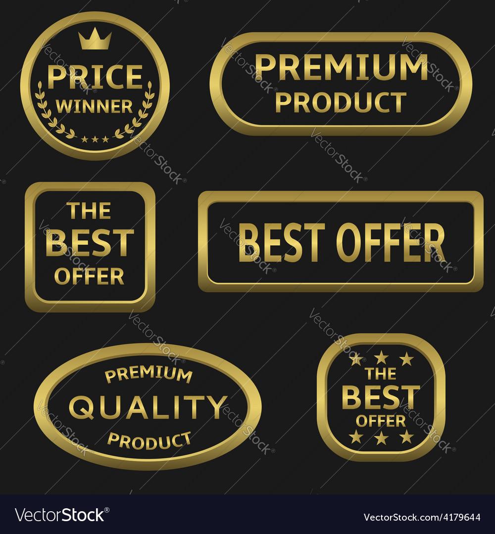 Golden labels vector | Price: 1 Credit (USD $1)