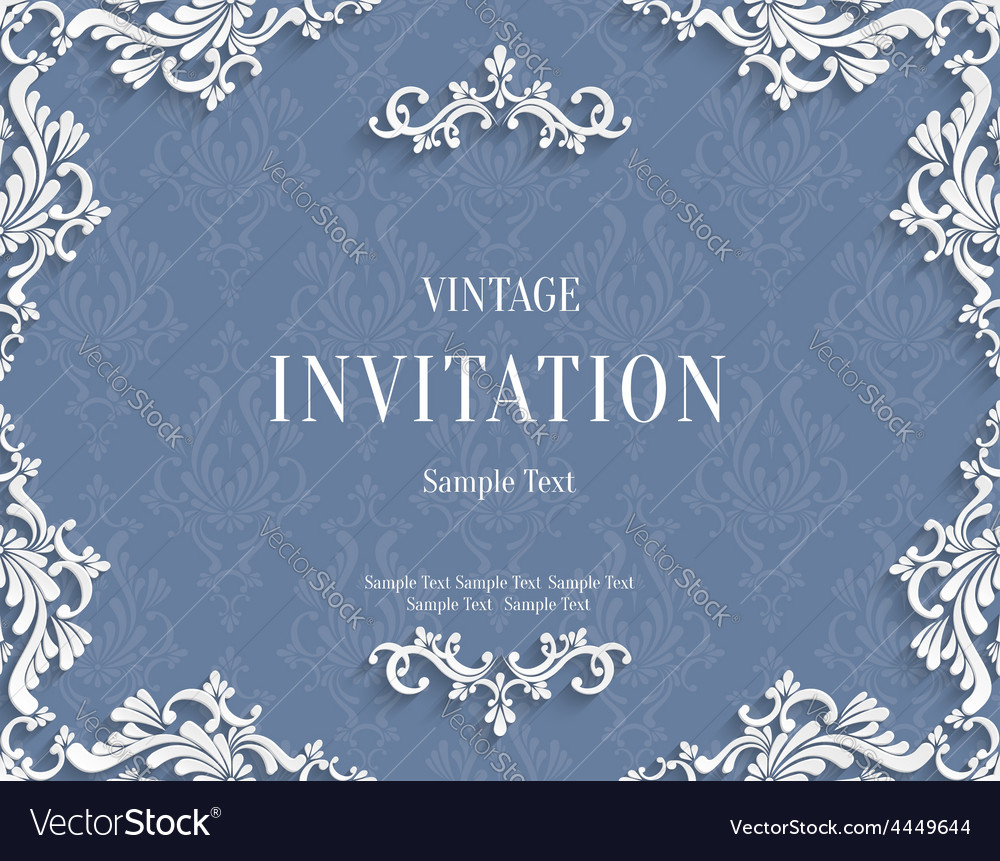 Gray 3d vintage invitation card with floral vector