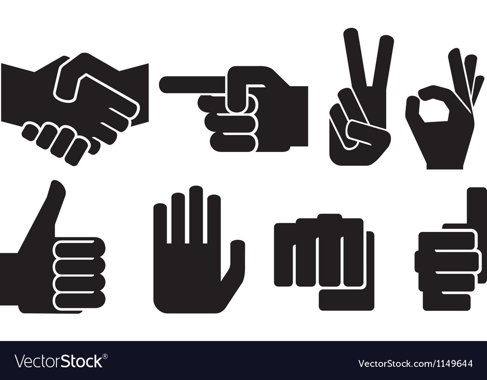 Hand gesture silhouettes vector | Price: 1 Credit (USD $1)