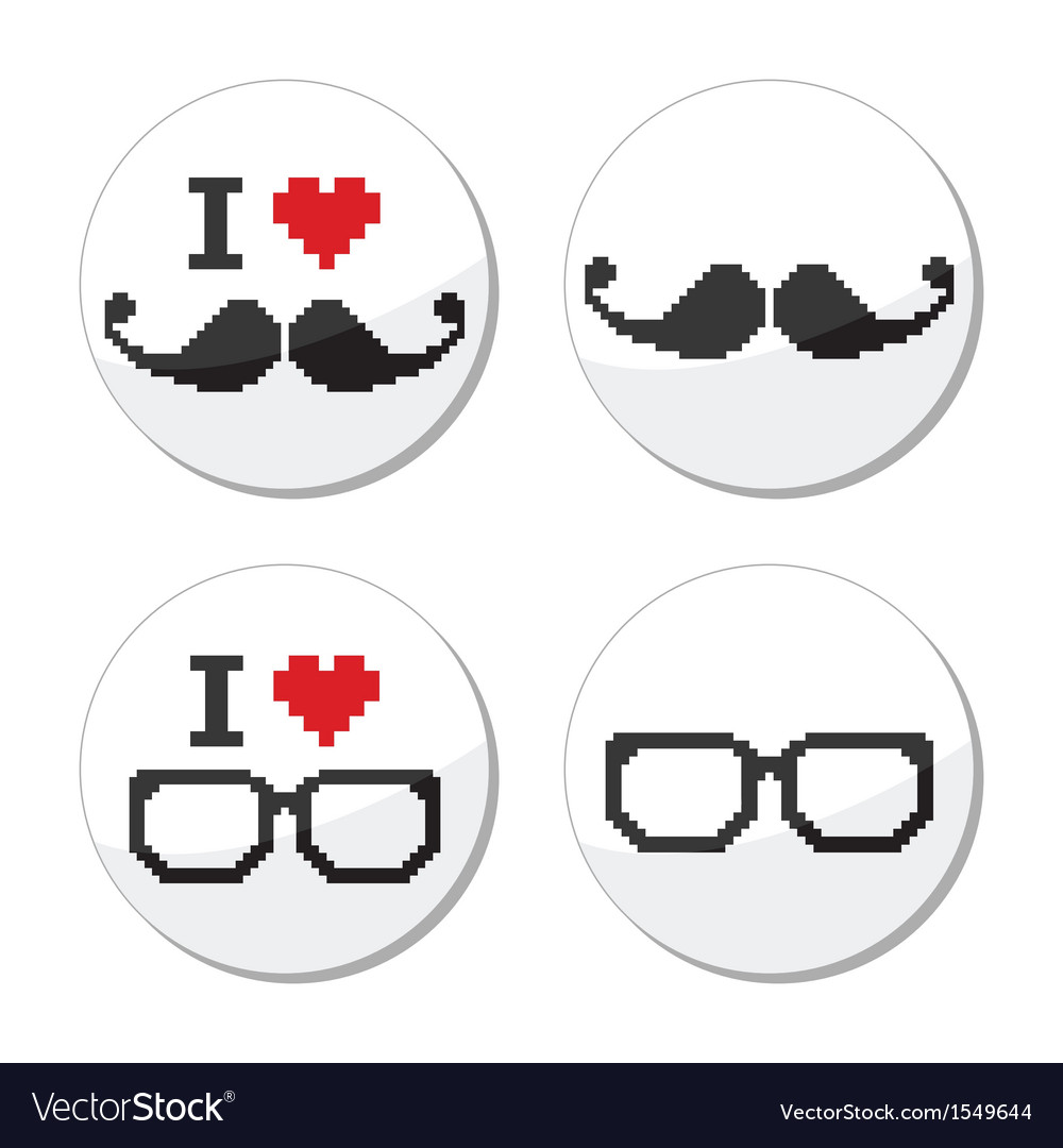 I love glasses and mustache moustache icons set vector | Price: 1 Credit (USD $1)