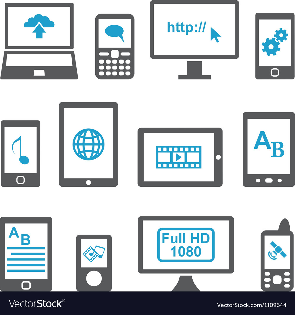 Icons set computers and mobile devices vector | Price: 1 Credit (USD $1)