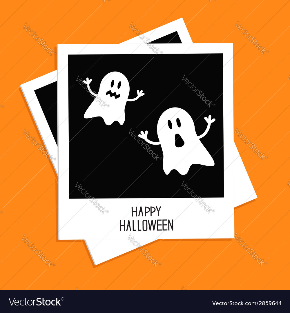 Instant photo with two funny ghosts halloween vector | Price: 1 Credit (USD $1)