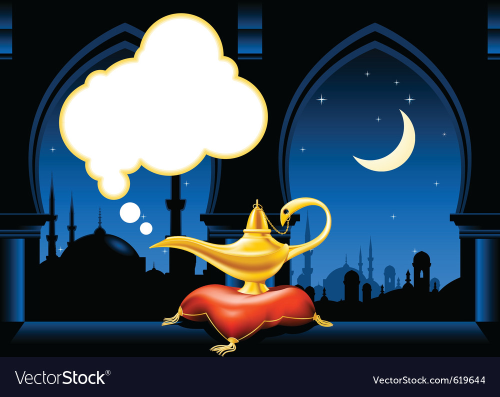 Magic lamp and arabic city skyline vector | Price: 3 Credit (USD $3)