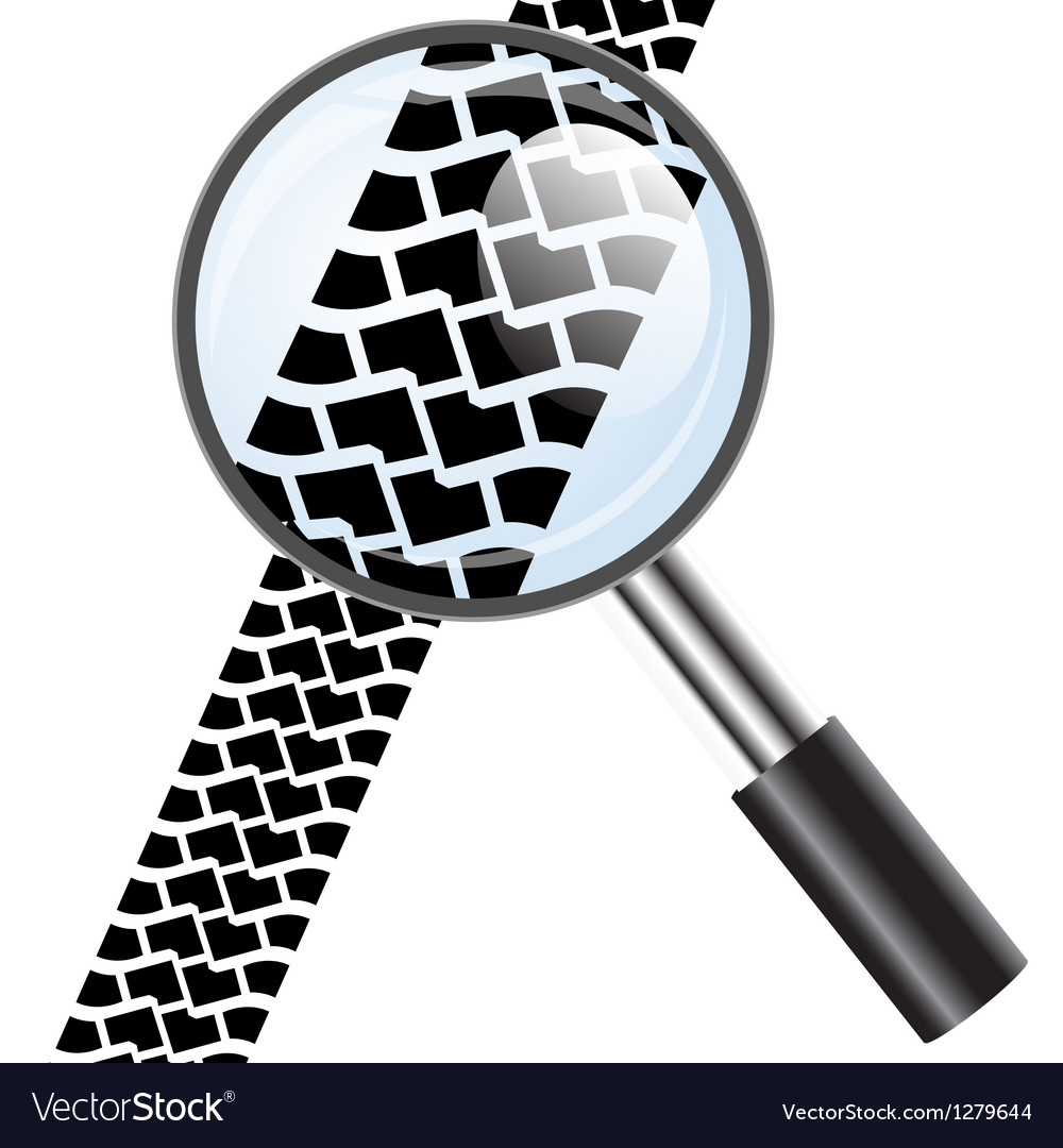 Magnifying glass icon trail tires vector | Price: 1 Credit (USD $1)