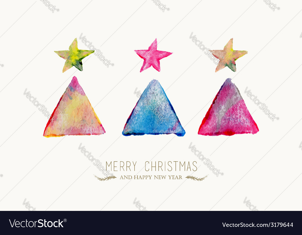 Merry christmas pine tree watercolor greeting card vector | Price: 1 Credit (USD $1)