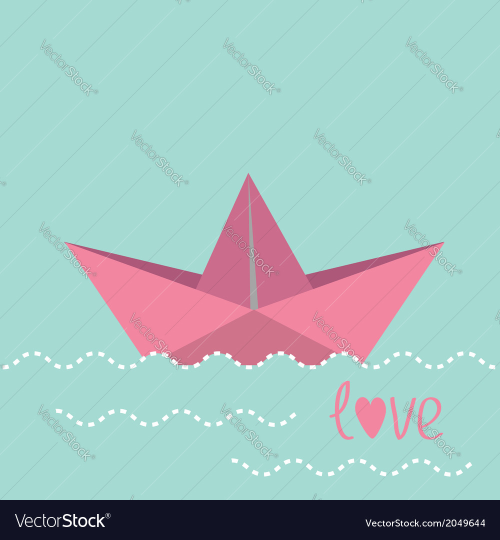 Origami paper boat and waves vector | Price: 1 Credit (USD $1)