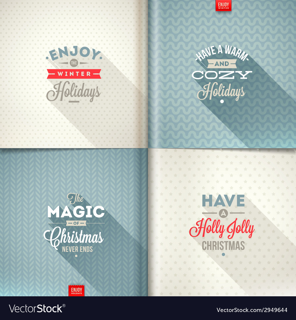 Set of christmas type design with long shadow vector | Price: 1 Credit (USD $1)