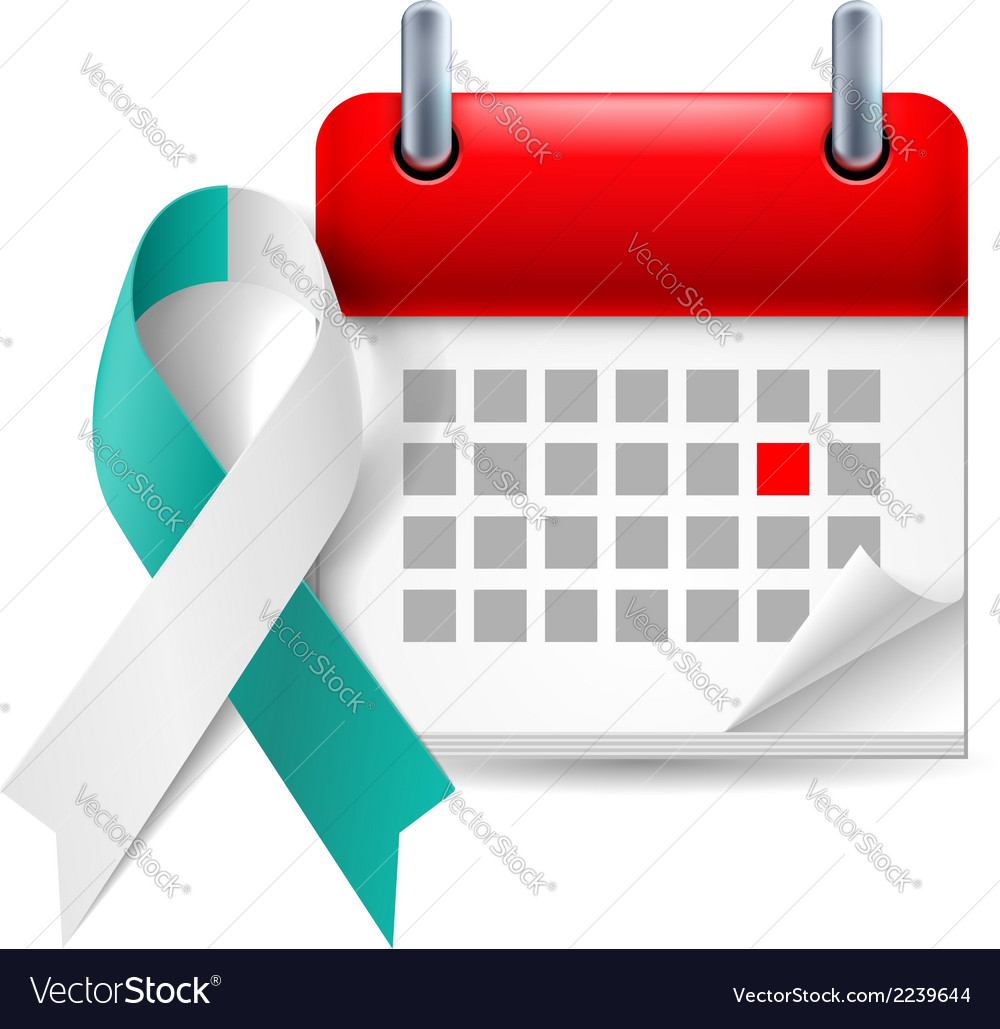 Teal and white awareness ribbon and calendar vector | Price: 1 Credit (USD $1)