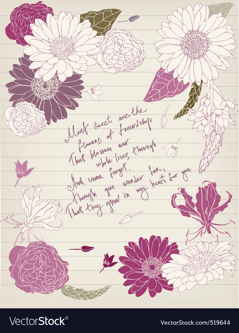 Vintage postcard with flowers and lettering vector | Price: 1 Credit (USD $1)