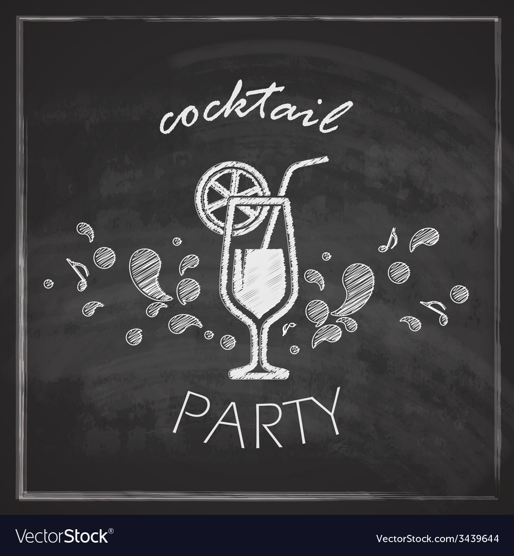 Vintage with cocktail on blackboard background vector | Price: 1 Credit (USD $1)