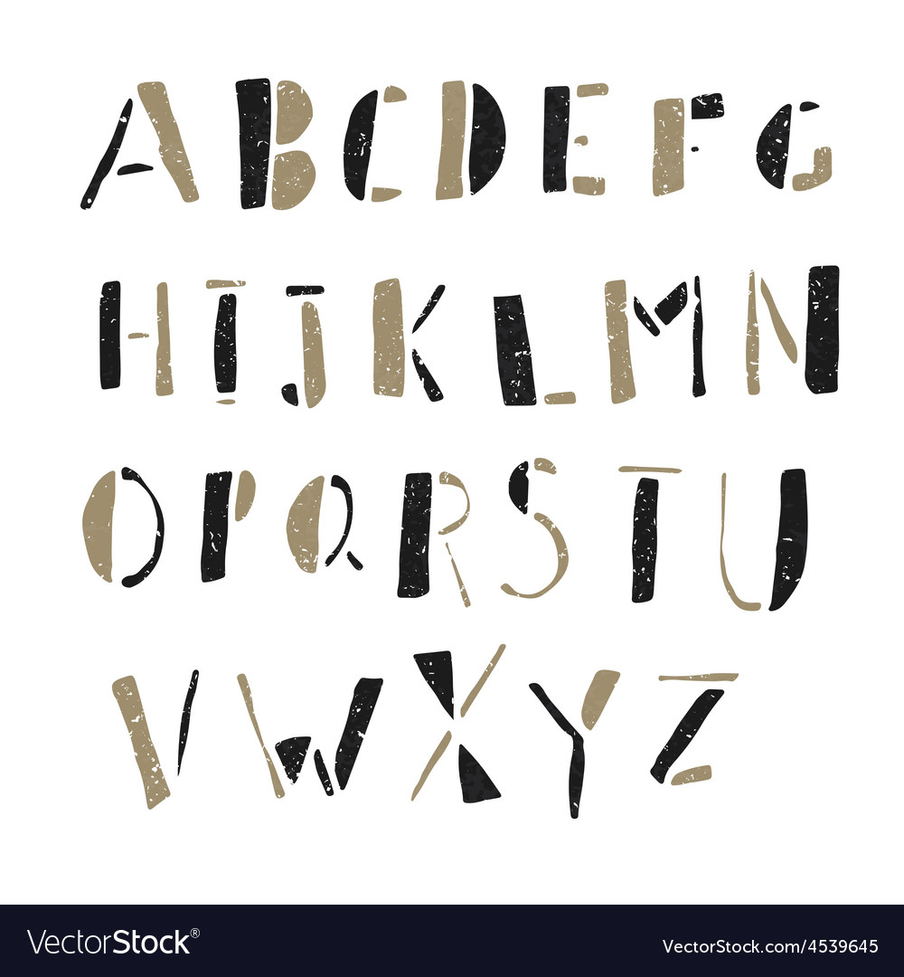 Alphabet simple hand drawn aged on white vector | Price: 1 Credit (USD $1)