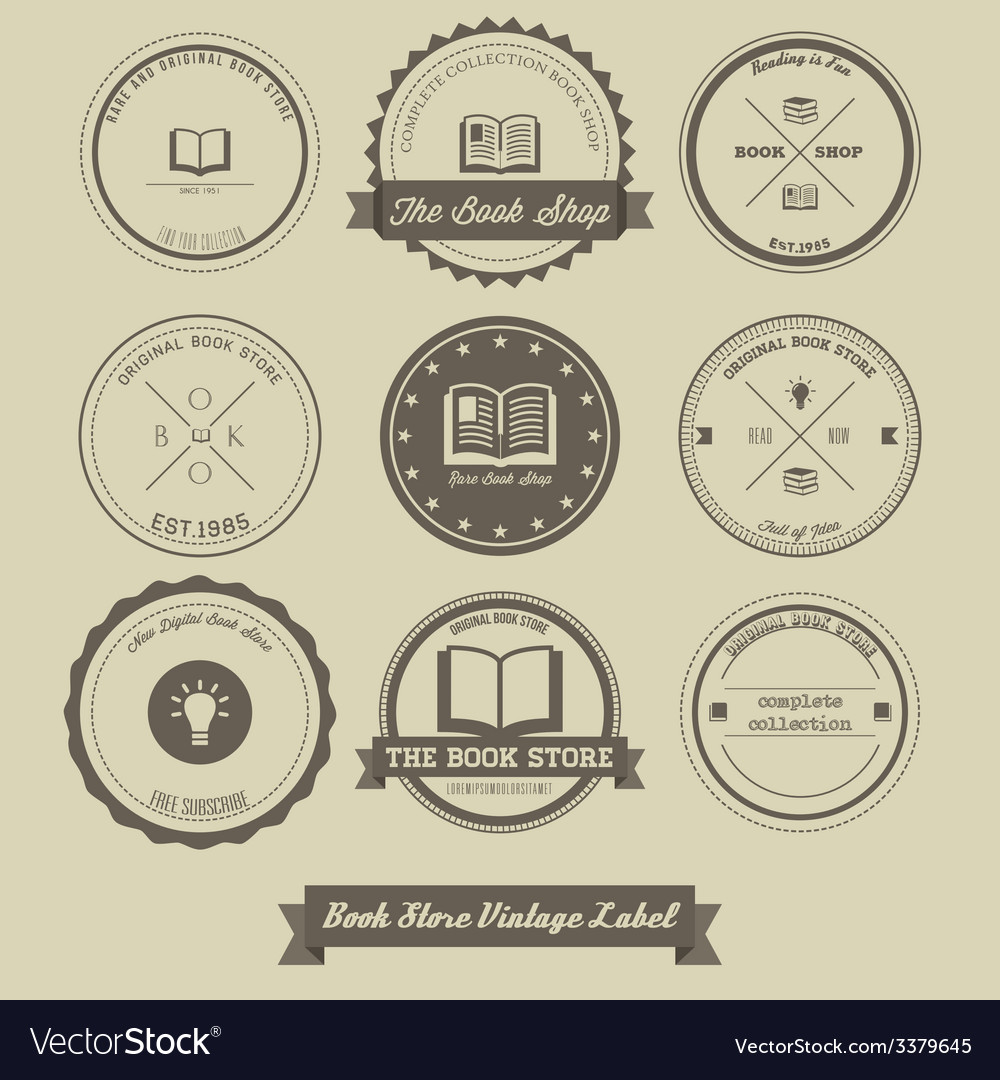 Book store vintage label design vector | Price: 1 Credit (USD $1)