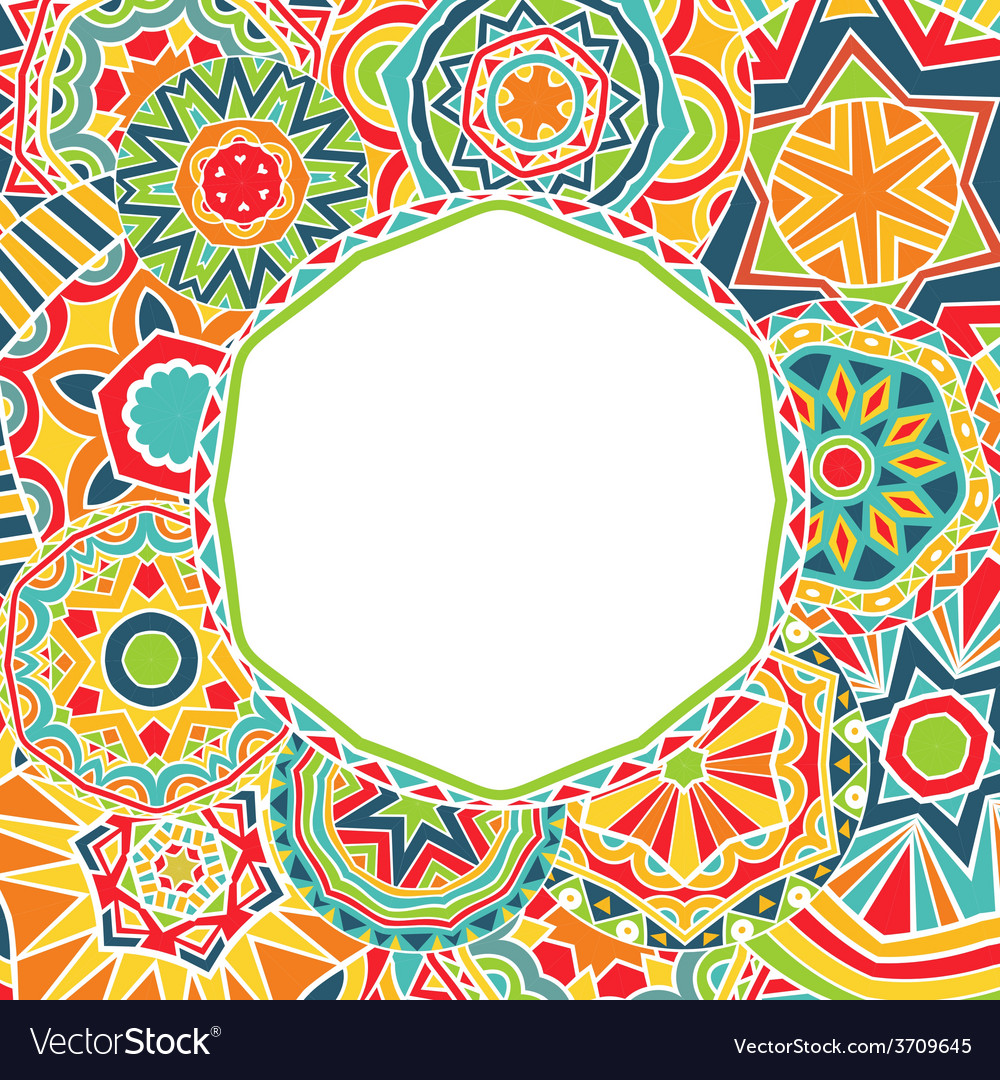 Bright rounds at ethnic frame vector | Price: 1 Credit (USD $1)