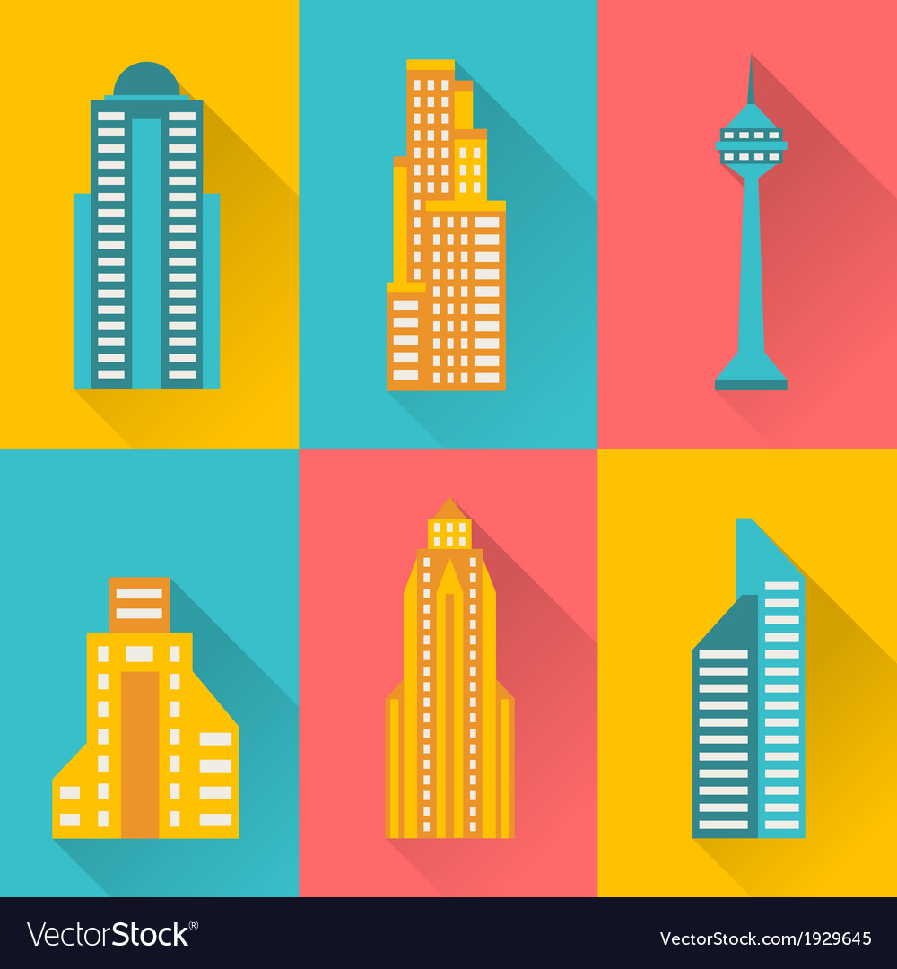 Cityscape icon set of buildings vector | Price: 1 Credit (USD $1)