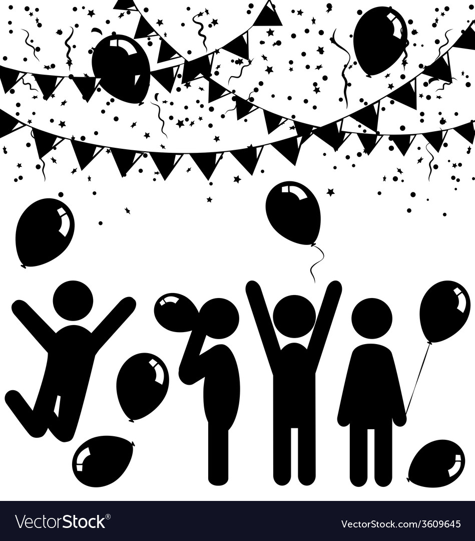 Flat celebration icons with air balloons confetti vector | Price: 1 Credit (USD $1)