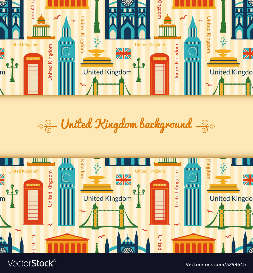 Landmarks of united kingdom background vector | Price: 1 Credit (USD $1)