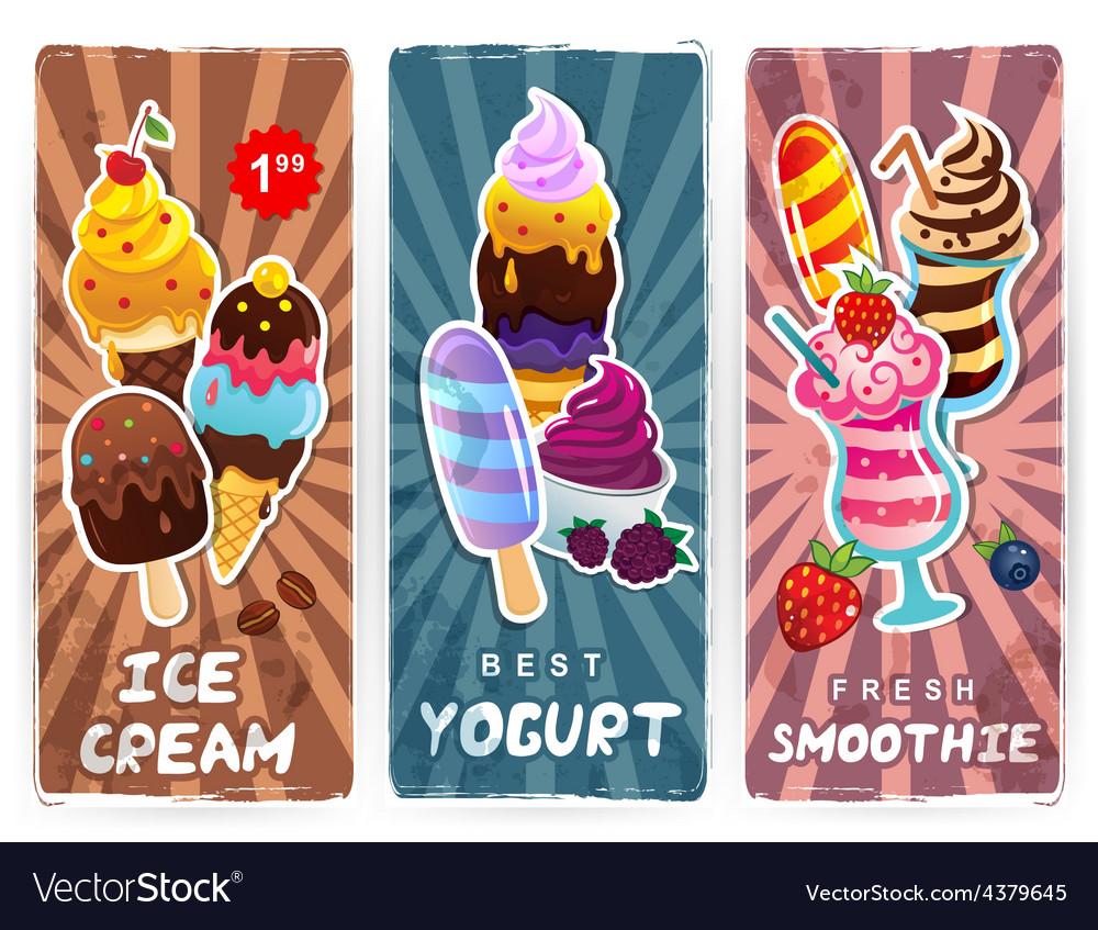 Retro style ice cream smoothie and yogurt banners vector | Price: 1 Credit (USD $1)