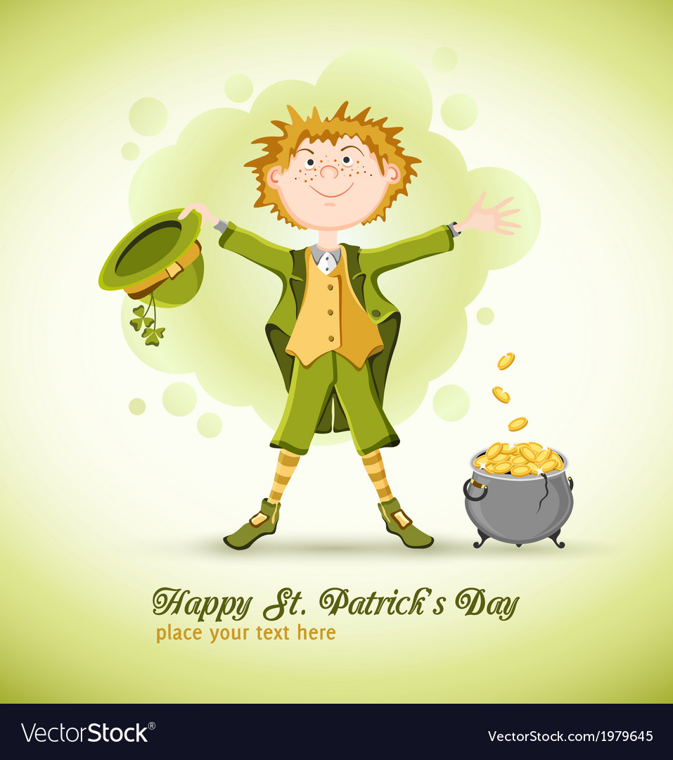 Saint patrick day leprechaun with lucky pot vector | Price: 1 Credit (USD $1)