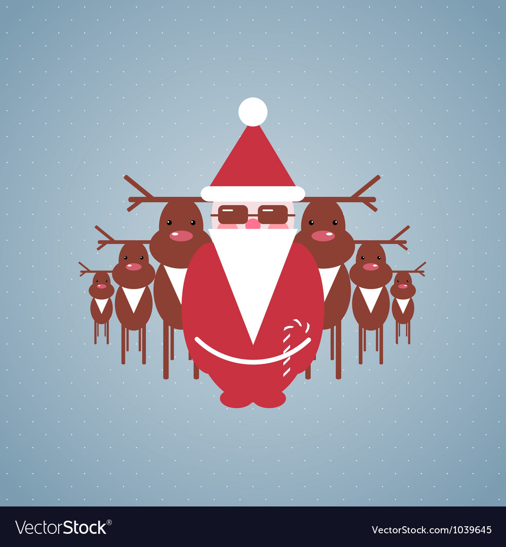 Santa and his reindeer gang vector | Price: 1 Credit (USD $1)