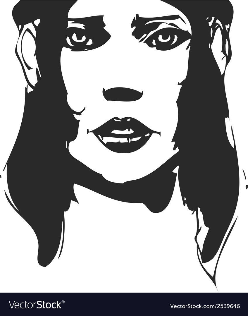 Black and white hand-drawn woman portrait ink vector | Price: 1 Credit (USD $1)