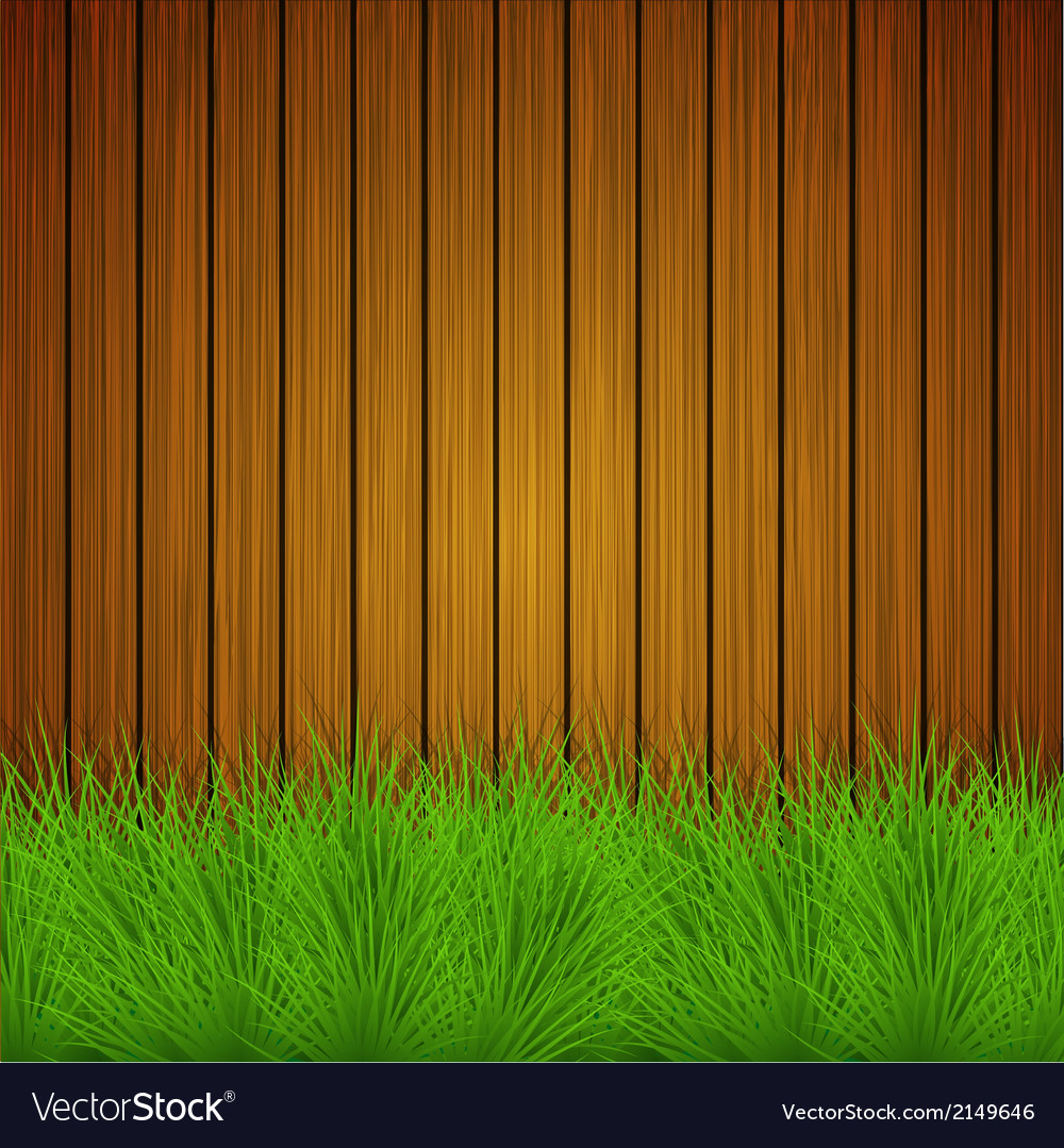 Creative grass on wooden background vector | Price: 1 Credit (USD $1)