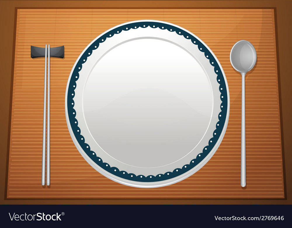 Empty plate on mat vector | Price: 1 Credit (USD $1)