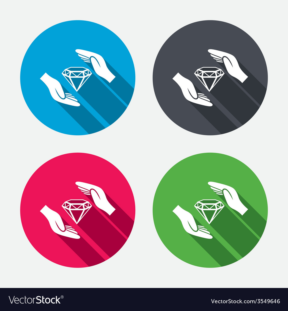 Jewelry insurance sign hands protect diamonds vector | Price: 1 Credit (USD $1)