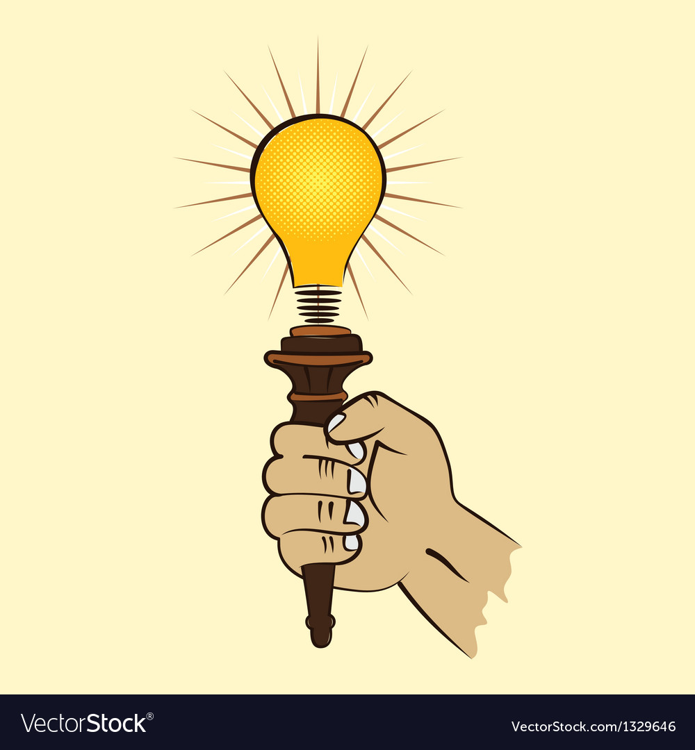 Lamp in hand vector | Price: 1 Credit (USD $1)