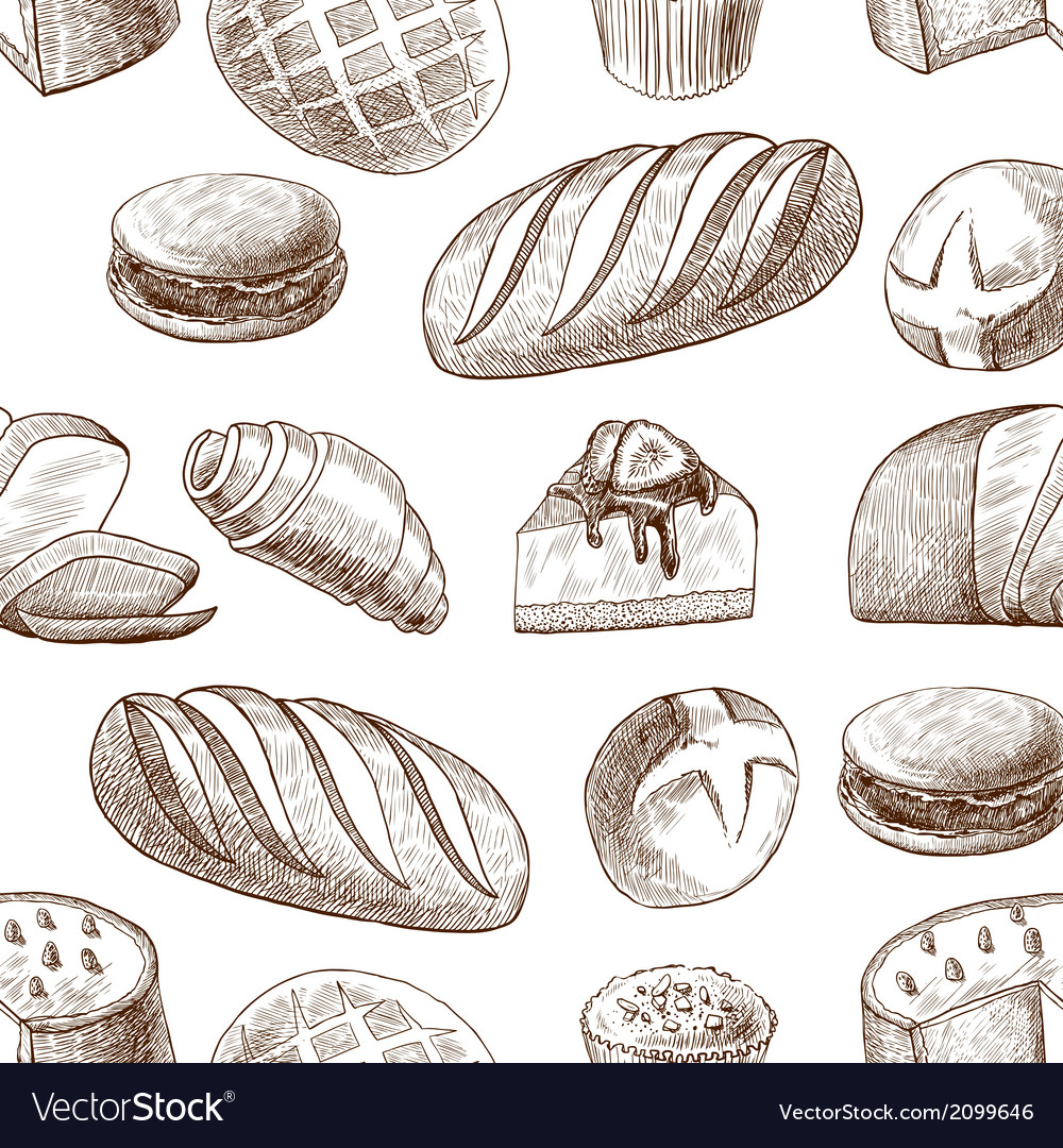 Pastry seamless pattern vector | Price: 1 Credit (USD $1)