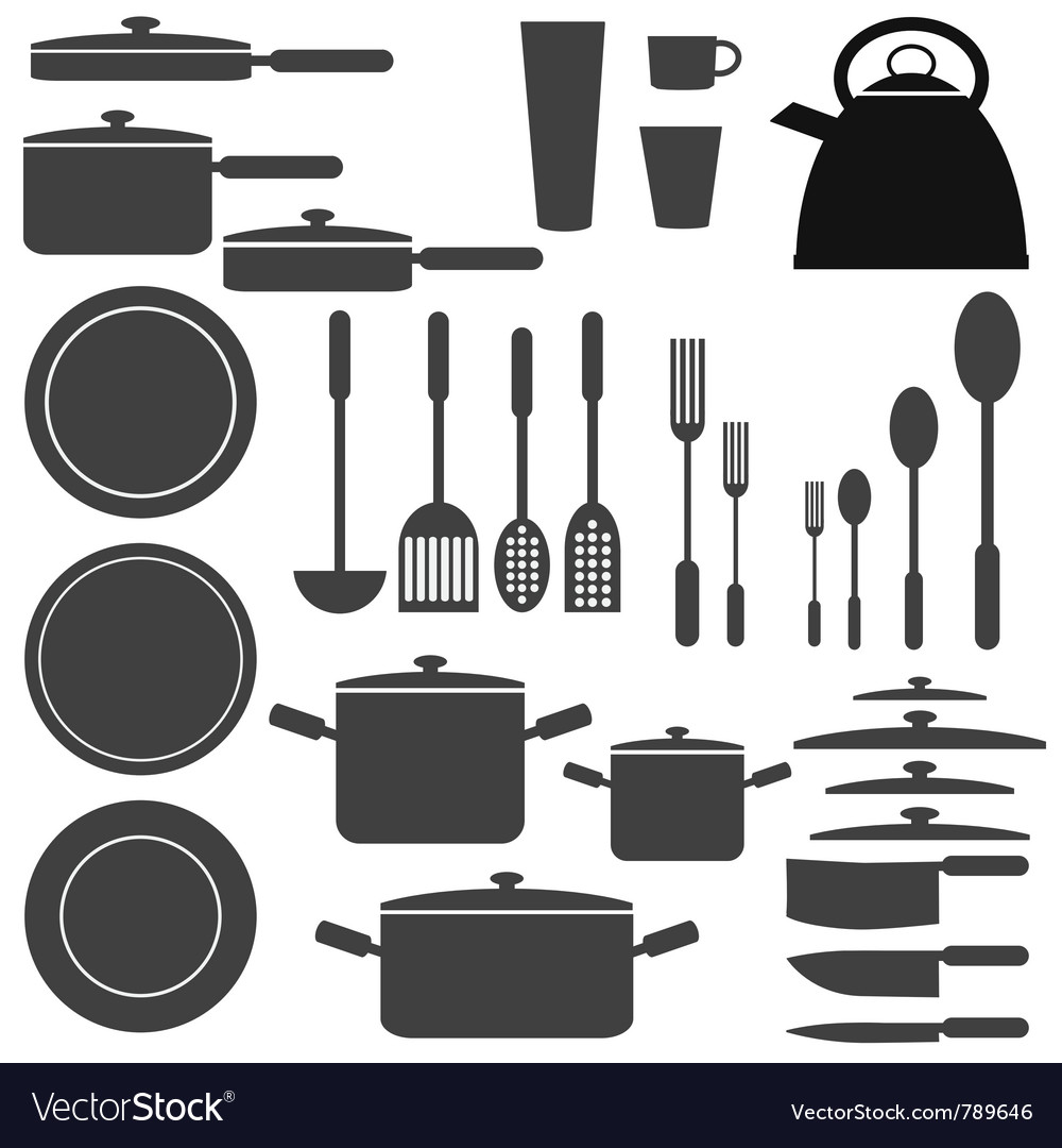 Set of kitchen utensils vector | Price: 1 Credit (USD $1)