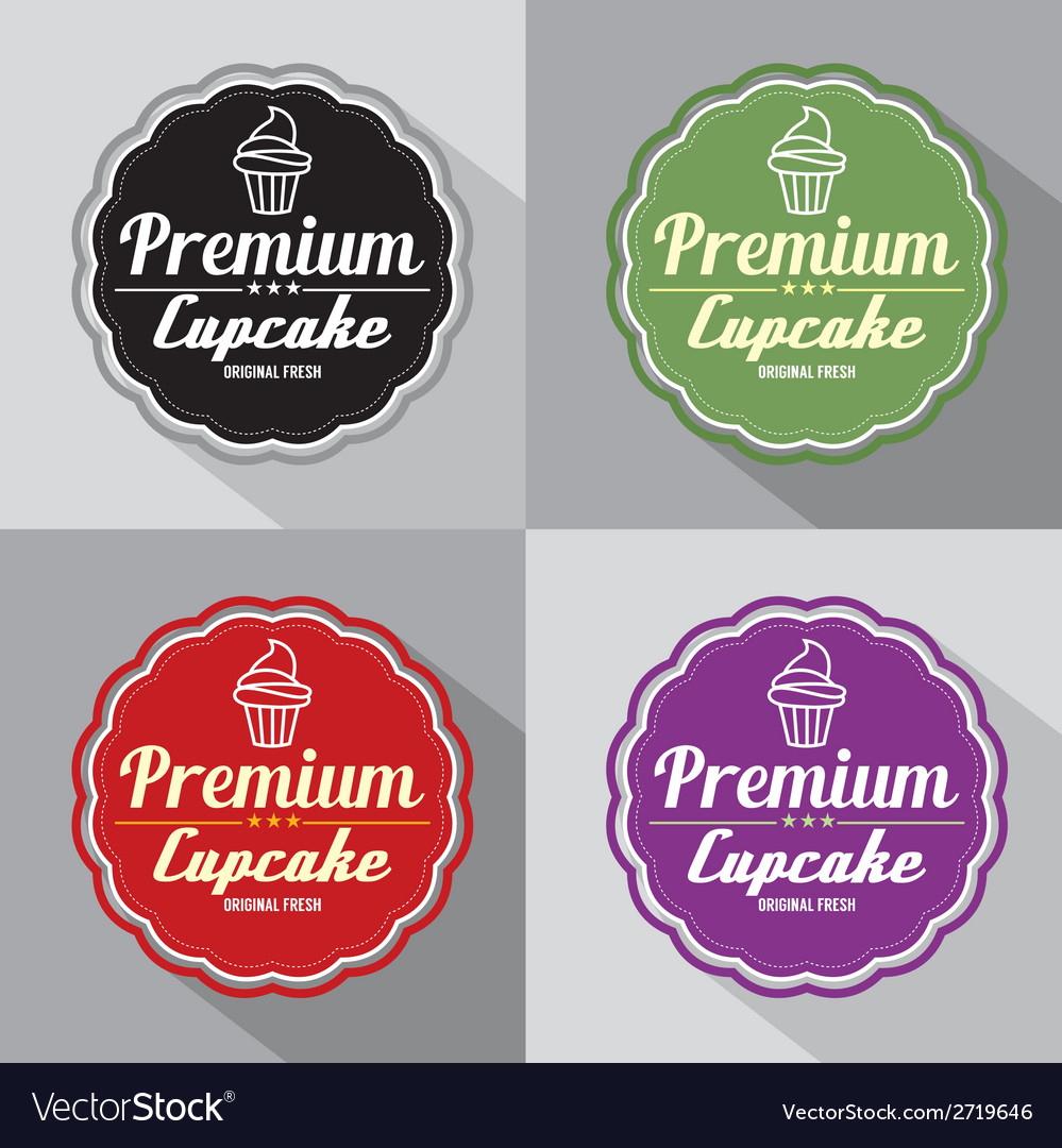 Set of premium cupcake label vector | Price: 1 Credit (USD $1)