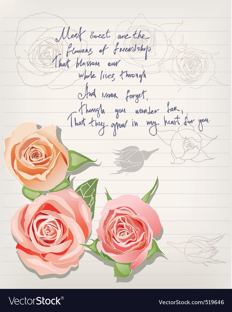 Vintage postcard with roses and lettering vector | Price: 1 Credit (USD $1)