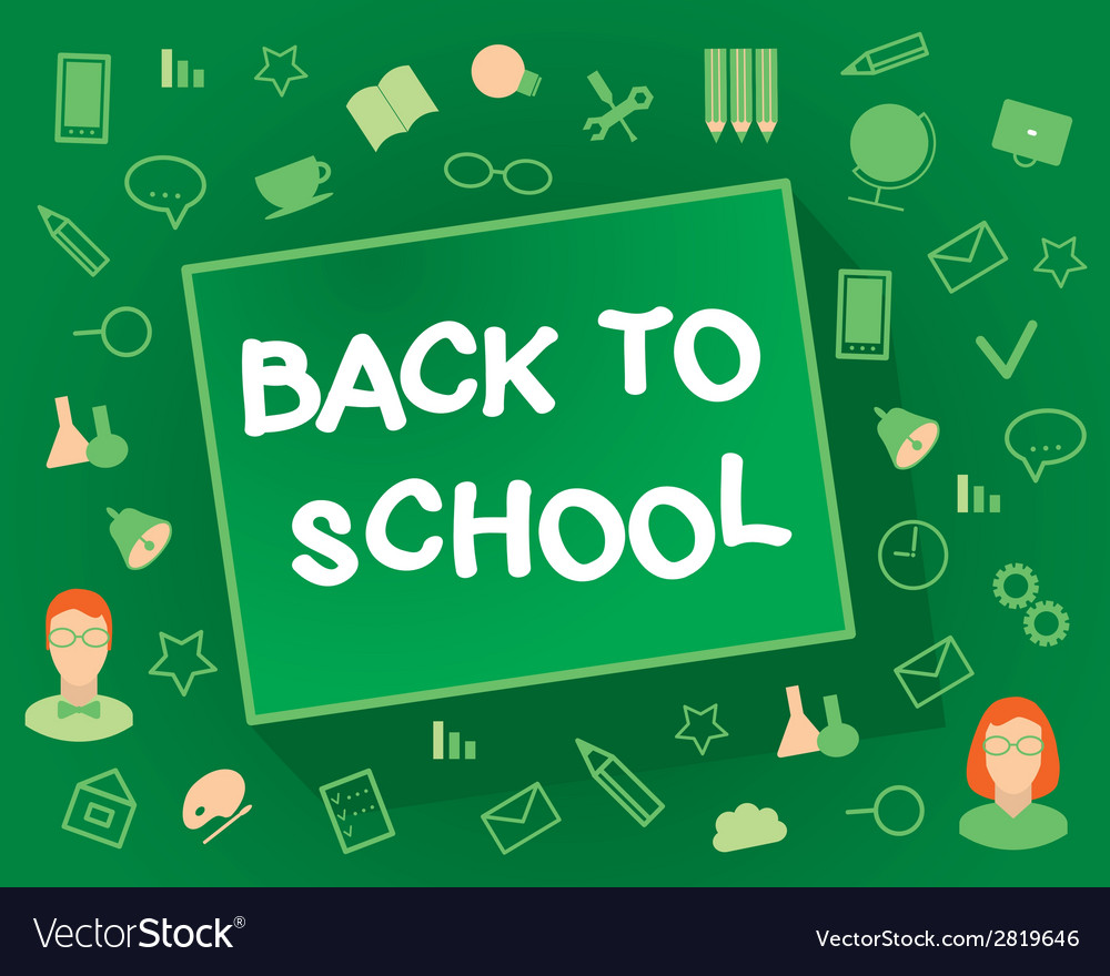 Welcome back to school flat design objects on a vector | Price: 1 Credit (USD $1)