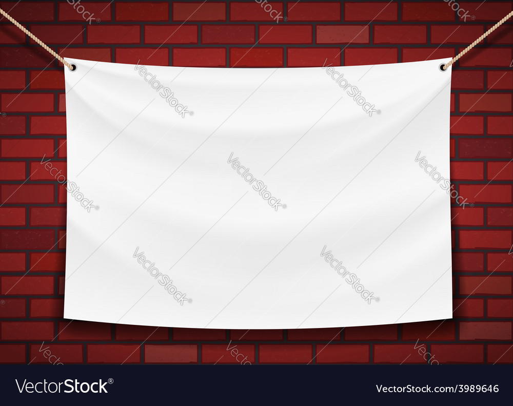 White banner hanging on a brick wall background vector | Price: 1 Credit (USD $1)