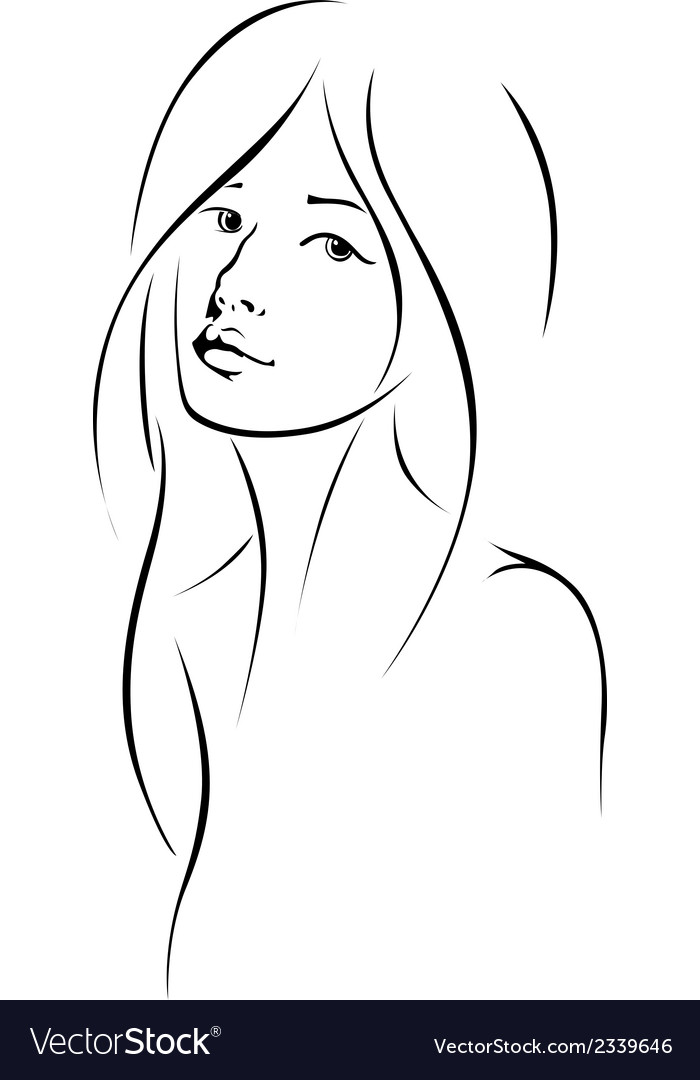 Woman face with long hair vector | Price: 1 Credit (USD $1)