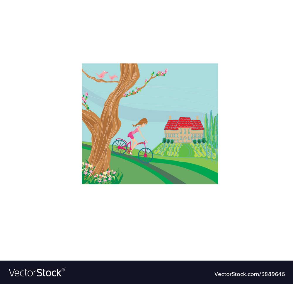 Woman riding a bike on a spring day vector | Price: 1 Credit (USD $1)