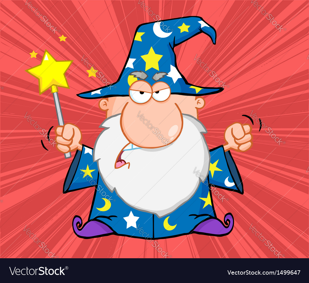 Angry wizard with magic wand vector | Price: 1 Credit (USD $1)