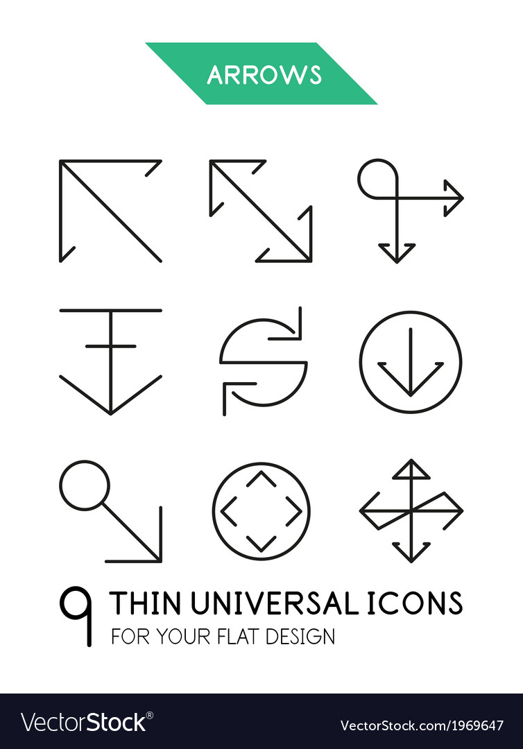 Arrow thin line icon set vector | Price: 1 Credit (USD $1)