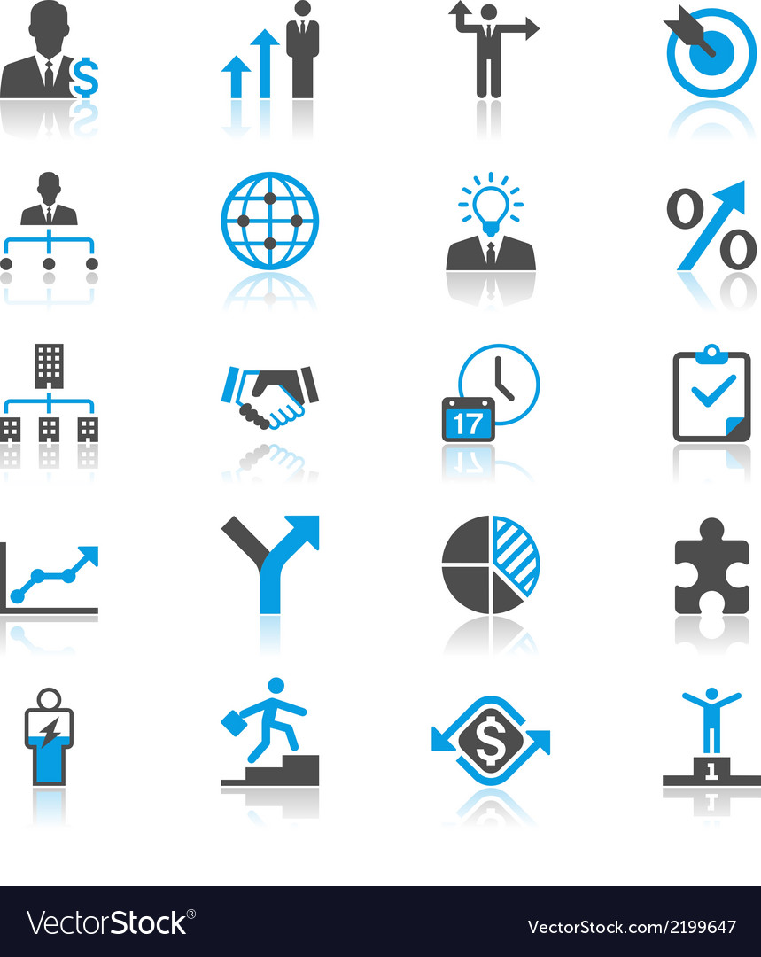 Business flat with reflection icons vector | Price: 1 Credit (USD $1)