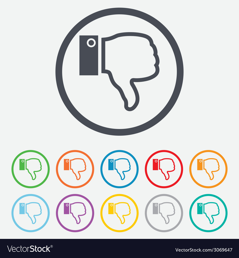 Dislike sign icon hand finger down symbol vector | Price: 1 Credit (USD $1)