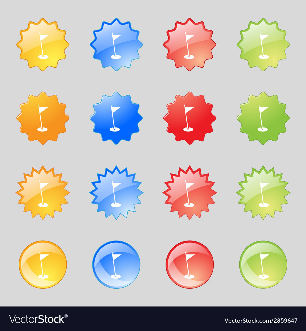 Flag hole sign icon sport symbol set colour vector | Price: 1 Credit (USD $1)