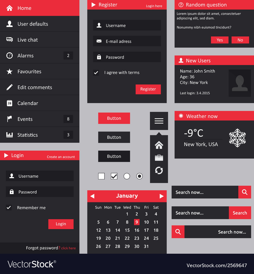 Flat design ui vector | Price: 1 Credit (USD $1)