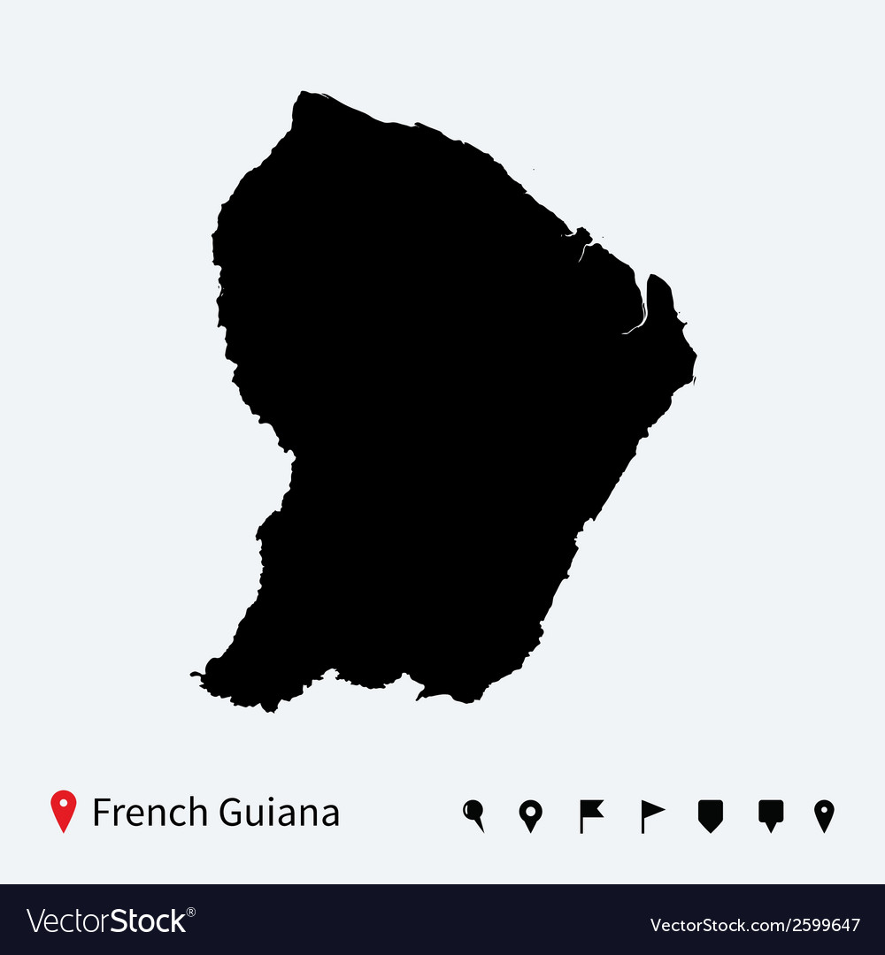 High detailed map of french guiana with navigation vector | Price: 1 Credit (USD $1)