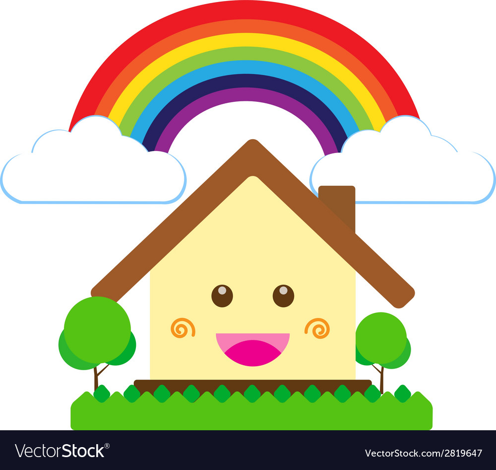 Isolated smile cartoon house cute happiness build vector | Price: 1 Credit (USD $1)