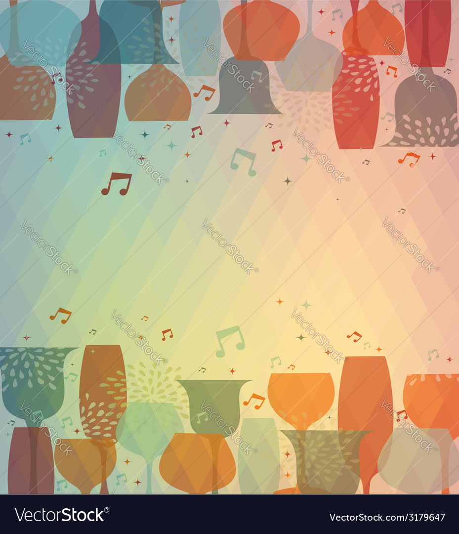 Musical cocktail glass colorful background vector | Price: 1 Credit (USD $1)