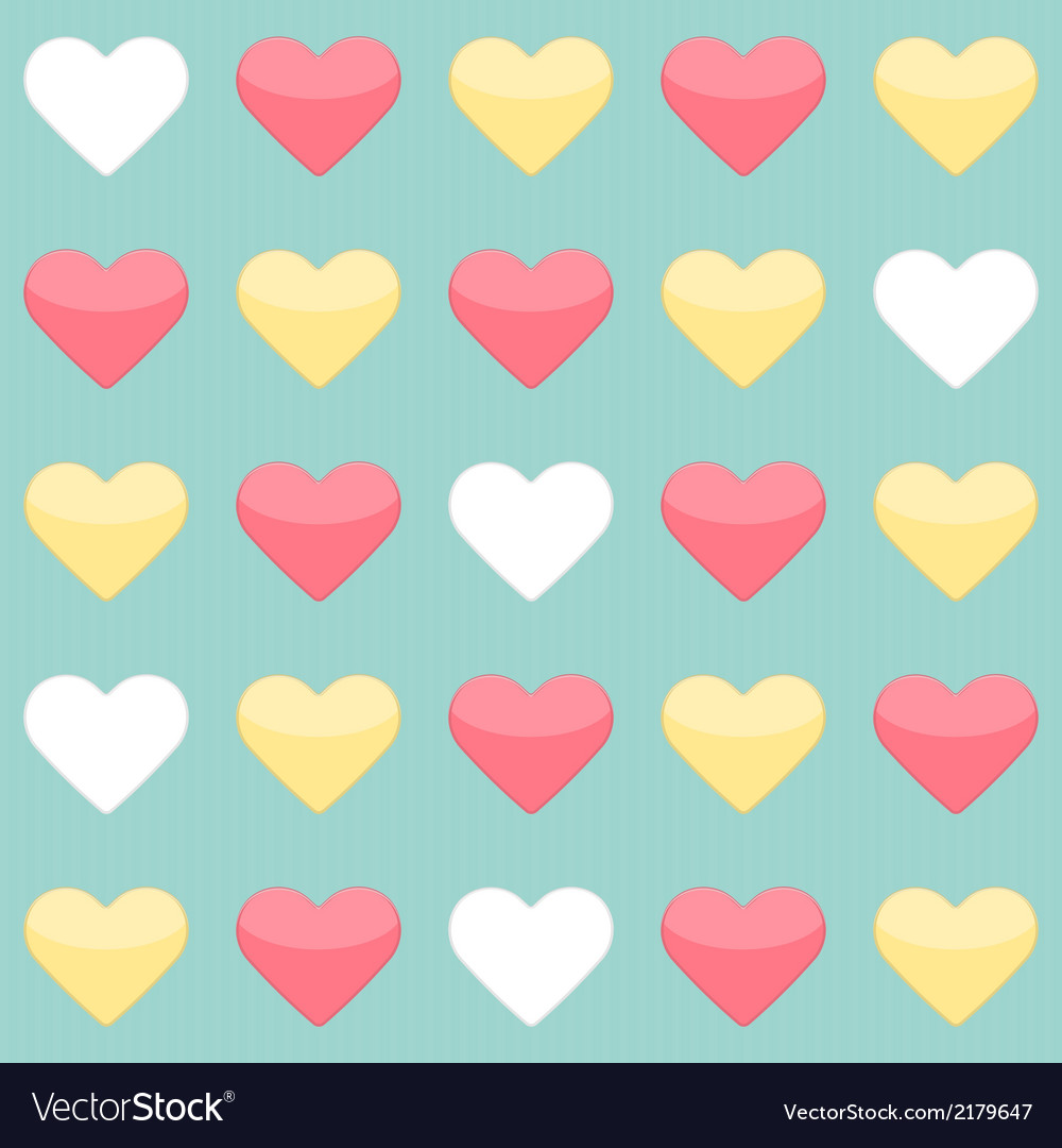 Seamless pattern with yellow red and white hearts vector | Price: 1 Credit (USD $1)