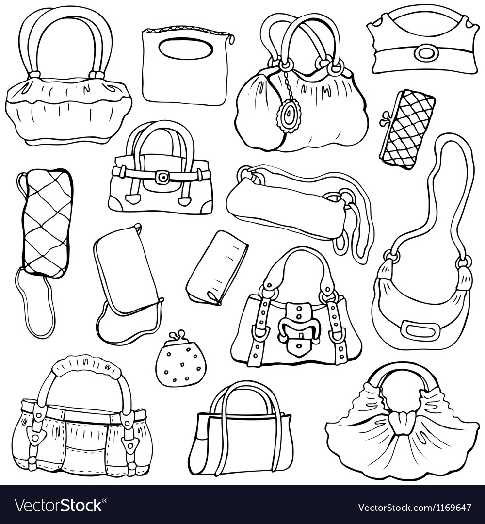 Womens handbags hand drawn set 2 vector | Price: 1 Credit (USD $1)