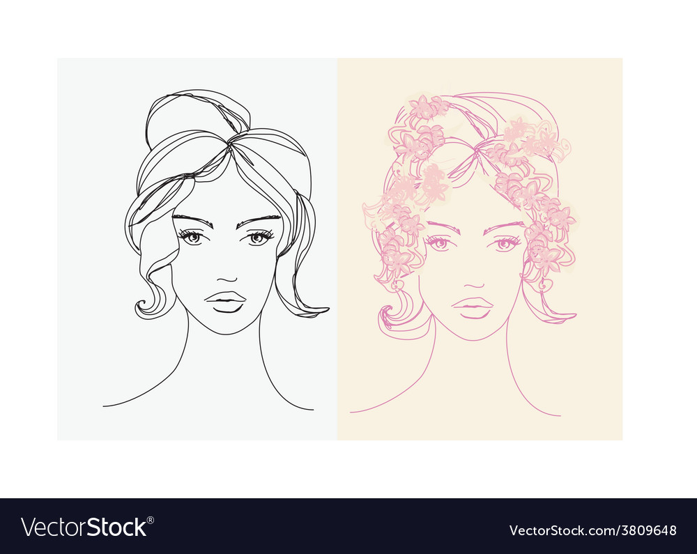 Abstract beautiful woman doodle portrait set vector | Price: 1 Credit (USD $1)