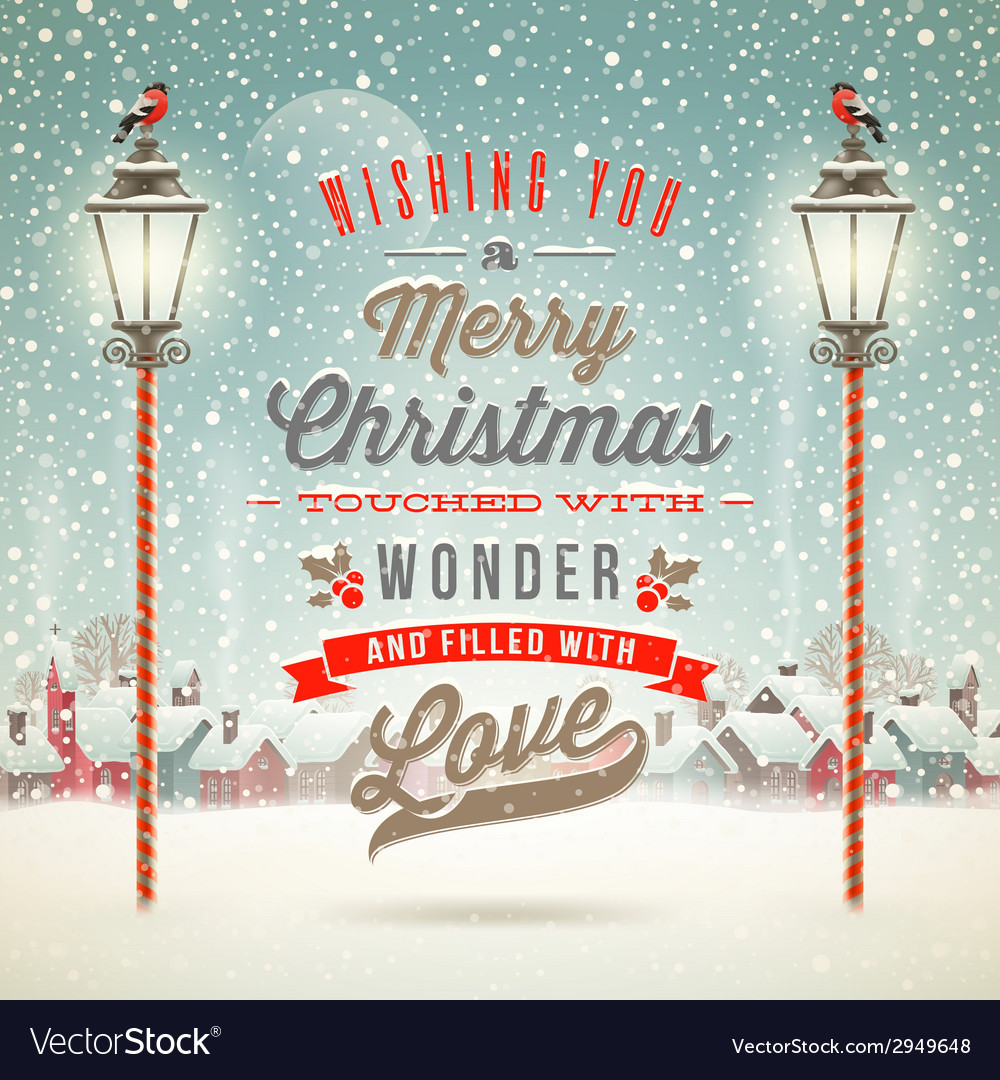 Christmas greeting type design with street lantern vector | Price: 3 Credit (USD $3)